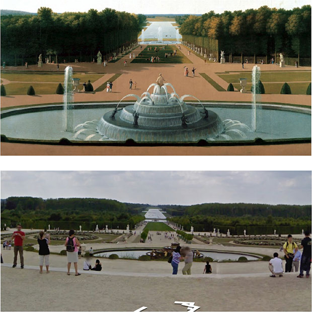 Detail of John Vanderlyn's Panoramic View of the Palace and Gardens of Versailles, 1819 (top) and Detail of Google World Wonders Project (Palace and Park of Versailles), 2012 (bottom). Image capture: Seth Thompson.